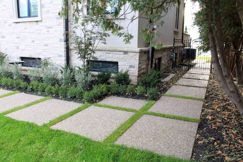 Aggregate walkway modern slabs